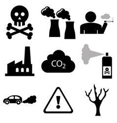 pollution and industrial icons vector image
