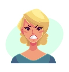 Pretty blond woman angry facial expression vector