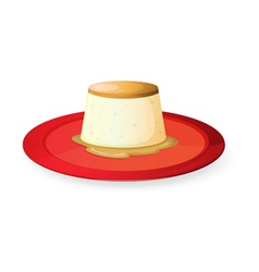pudding in red dish vector image