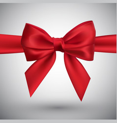 realistic red bow element for decoration gifts vector image