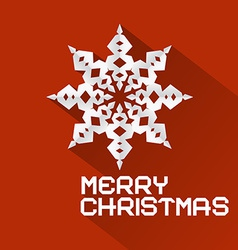 Retro Red Merry Christmas with Paper Snowfla vector image
