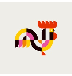 Rooster flat logo template or icon of cock vector