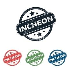 Round Incheon city stamp set vector image