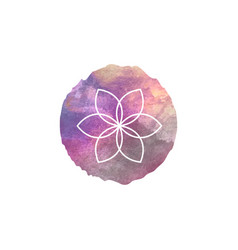 sacred geometry flower life watercolor round vector image