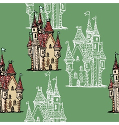 seamless background with medieval castle vector image