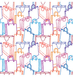 seamless pattern of various shopping bags vector image