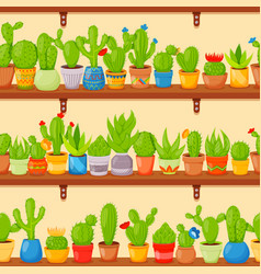 seamless pattern with cactuses and succulents in vector image