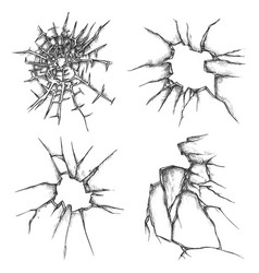 set isolated glass crack window hole sketches vector image