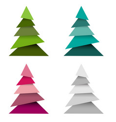 set of christmas trees made from pieces paper vector image
