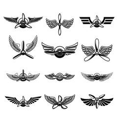 set of vintage airplane show emblems design vector image