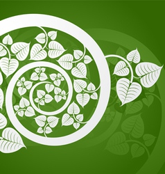 Silver patterned curve branch with leaf on a green vector image