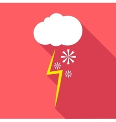 Snow and thunderstorm icon flat style vector