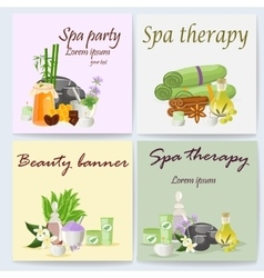 Spa still life icons with water lily and zen stone vector