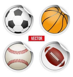 Sports Round Stickers balls with shadows Equipment vector image