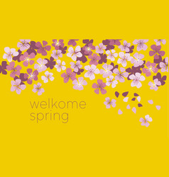 sunny yellow color decorative cherry blossom vector image