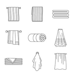 towel hanging spa bath icons set outline style vector image