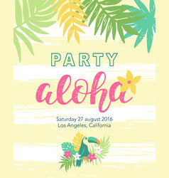 Tropical beach party banner template vector