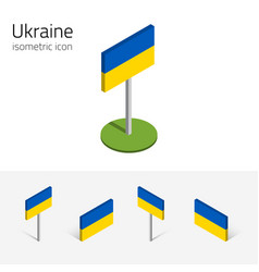 Ukraine flag set of 3d isometric icons vector