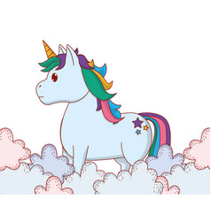 unicorn between clouds vector image