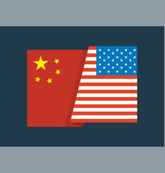 united states america flag and china flag vector image