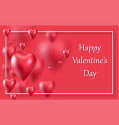valentines day realistic 3d hearts poster on red vector image