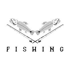 Vintage fishing emblem with skeleton of trout vector