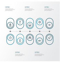Warfare outline icons set collection of cranium vector