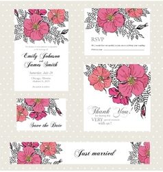 Wedding invitation set with vintage flowers vector