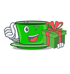 with gift green tea mascot cartoon vector image