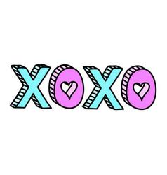 xoxo cute word with hearts teen doodle vector image