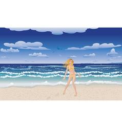 Yellow bikini girl on beach vector image