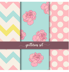 zigzag rose dot vertical seamless patterns set vector image