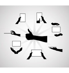 Black Set of Hand and Digital Tablet Computer vector image vector image