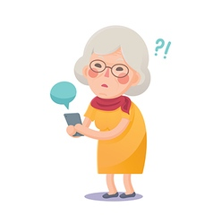Confused Grandma Using Smart Phone vector image vector image