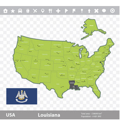 louisiana flag and map vector image vector image