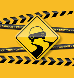 slippely road sign on yellow wall vector image