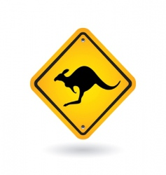 yellow sign with kangaroo vector image vector image