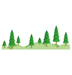 Spruce summer forest in horizontal seamless border vector image
