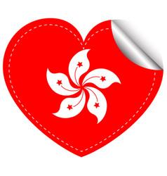sticker design for hongkong flag in heart shape vector image