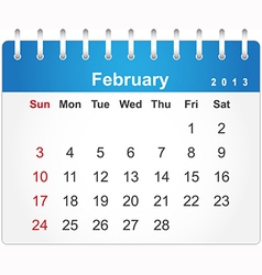 Stylish calendar page for February 2013 vector image