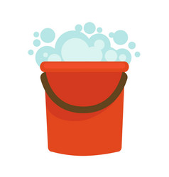 water bucket with soap foam home clean vector image