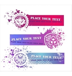 Colorful Grunge Banners with floral elements vector image