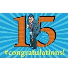 Congratulations 15 anniversary event celebration vector image vector image