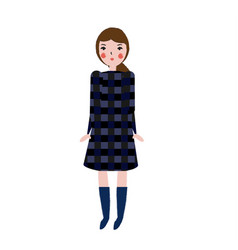 fashionable female in plaid dress girl in trendy vector image vector image