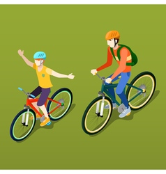 Isometric People Isometric Bicycle Father and Son vector image vector image