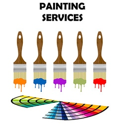Painting tools and color samples vector image vector image