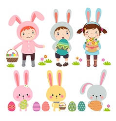 Set of characters and icons on the Easter theme vector image