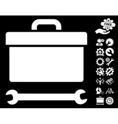 Toolbox Icon with Tools Bonus vector image vector image