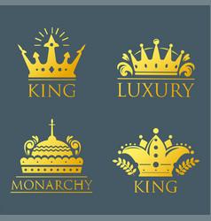 crown king vintage premium golden badge heraldic vector image vector image