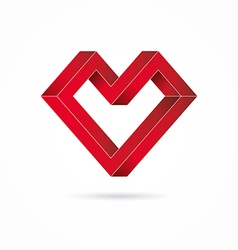 Heart abstract impossible geometric shapes vector